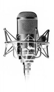 Black and white 1950's style microphone