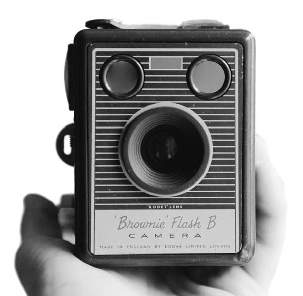 Hand holding a vintage camera, taking a photo