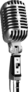 Black and white 1950's style microphone on stand